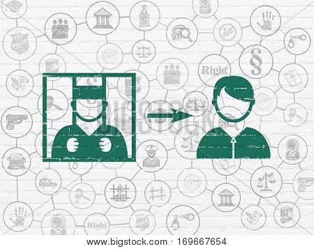 Law concept: Painted green Criminal Freed icon on White Brick wall background with Scheme Of Hand Drawn Law Icons