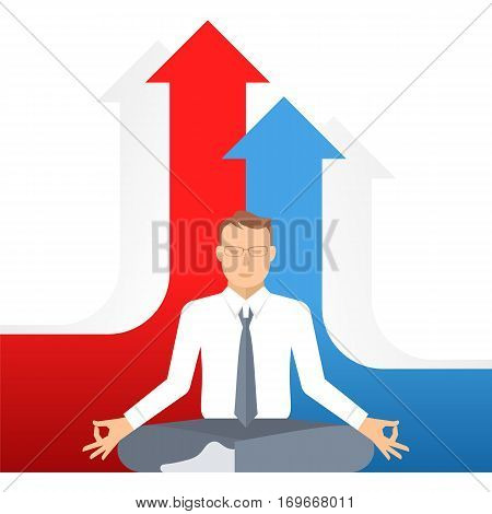 Businessman meditates at work in the lotus pose on the growth graphs background. Flat vector business concept illustration of meditation. Design template element. Competition increase success ideas.