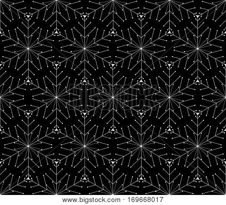 Modern seamless pattern. Monochrome geometrical texture with regularly repeating hexagons, asterisks. Abstract vector element of graphic design.