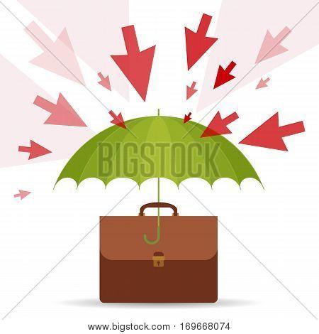 Protect and safety business concept. Vector flat illustration of umbrella business case danger and risks. Design element for web internet print presentation brochure social networks.