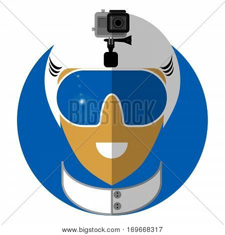 Flat icon of the snowboarder, the skier shooting on action camera. Symbol of an active type of rest.