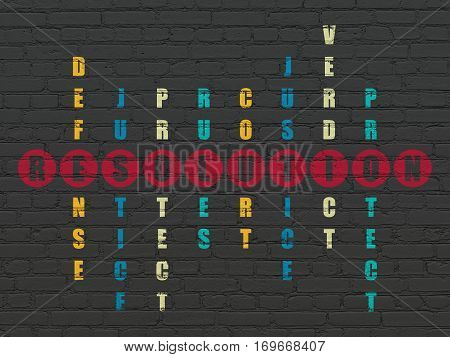 Law concept: Painted red word Resolution in solving Crossword Puzzle