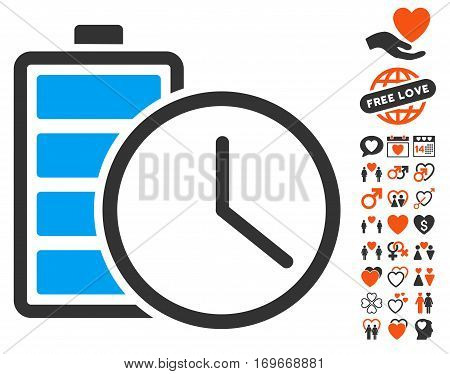 Battery Time pictograph with bonus dating icon set. Vector illustration style is flat iconic elements for web design app user interfaces.
