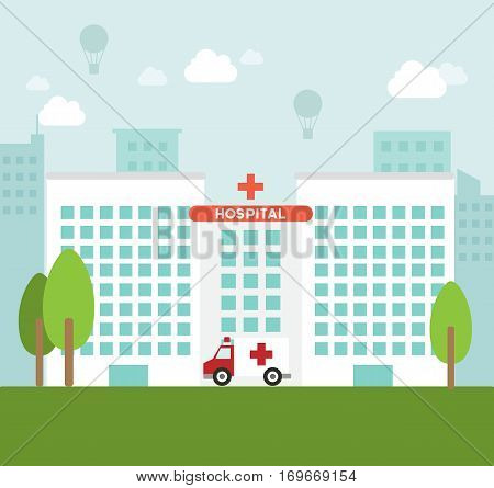 Hospital clinic building architecture ambulance landscape health illustration vector stock