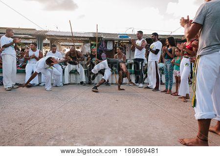 Cabedelo Paraiba Brazil - February 5 2017 - A capoeira demonstration at the Jacare Beach near Joao Pessoa in Brazil