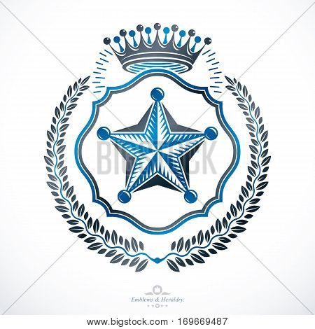 Vintage heraldry design template vector emblem composed with pentagonal star and royal crown