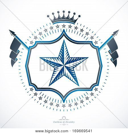 Vintage heraldry design template vector emblem composed with pentagonal star and monarch crown