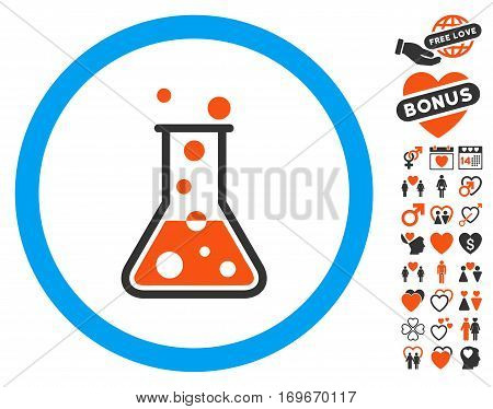 Boiling Liquid Flask icon with bonus valentine graphic icons. Vector illustration style is flat iconic elements for web design app user interfaces.