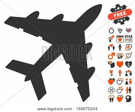 Bomber icon with bonus romantic pictograph collection. Vector illustration style is flat iconic symbols for web design app user interfaces.
