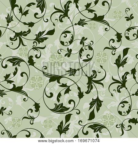 Seamless green floral vintage pattern.