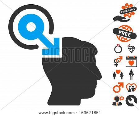 Brain Interface Plug-In pictograph with bonus valentine icon set. Vector illustration style is flat iconic symbols for web design app user interfaces.