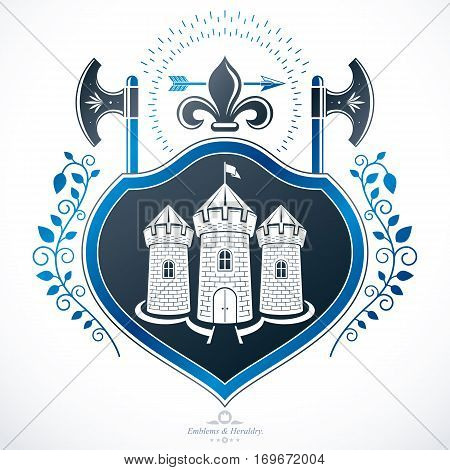Heraldic coat of arms and decorative emblem created with medieval tower and hatchets