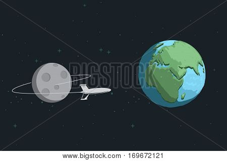 Rocket come back to Earth after mission on the Moon.Cartoon childish vector illustration.