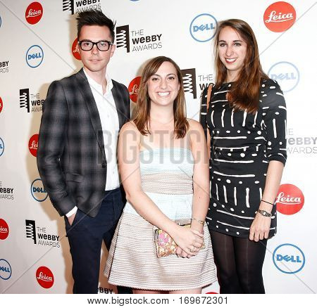 NEW YORK-MAY 19: (L-R) Williams Sawyer, Mary Dauterman and Chelsea O'Brien of the GIFYS attend the 18th Annual Webby Awards at Cipriani Wall Street on May 19, 2014 in New York City.