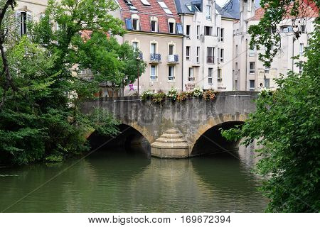 Metz France - july 25 2016 : the picturesque old city center in summer