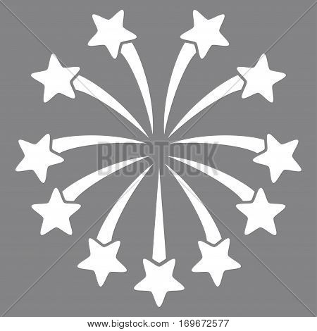 Spherical Fireworks flat icon. Vector white symbol. Pictogram is isolated on a gray background. Trendy flat style illustration for web site design logo ads apps user interface.