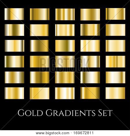 gold metal gradient set. Different gradation design swatches collection