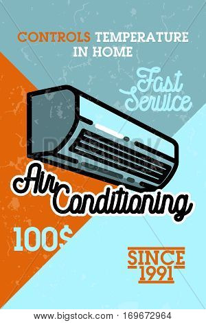 Color vintage air conditioning banner. Ventilation and conditioning system. Vector illustration, EPS 10