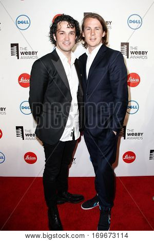 NEW YORK-MAY 19: Ba?rd Ylvisa?ker and Vegard Ylvisa?ker (L) of Ylvis attend the 18th Annual Webby Awards at Cipriani Wall Street on May 19, 2014 in New York City.