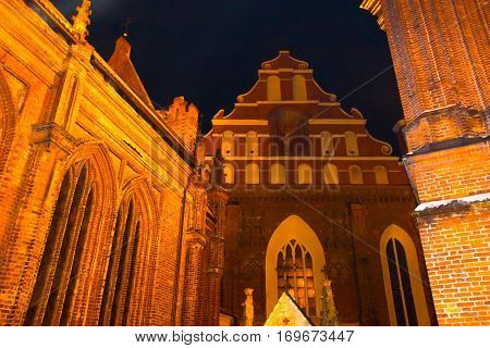 Beautiful Gothic Style St. Anne Church in VIlnius, Lithuania at night