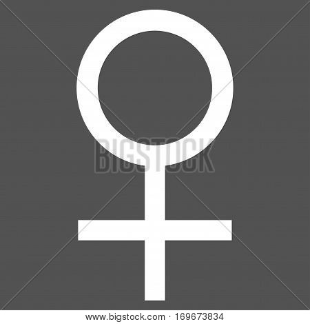 Venus Female Symbol flat icon. Vector white symbol. Pictogram is isolated on a gray background. Trendy flat style illustration for web site design logo ads apps user interface.