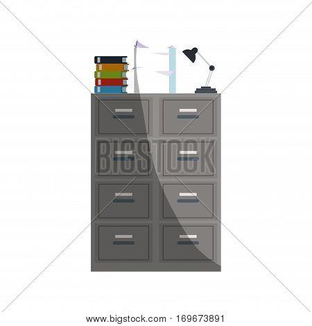 files cabinet icon over white background. colorful design. vector illustration