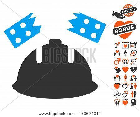 Brick Helmet Accident icon with bonus love symbols. Vector illustration style is flat iconic symbols for web design app user interfaces.