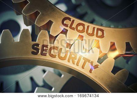 Cloud Security on the Mechanism of Golden Metallic Cog Gears with Lens Flare. Cloud Security - Technical Design. 3D Rendering.