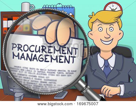 Procurement Management. Handsome Business Man Sitting in Offiice and Shows Paper with Concept through Lens. Colored Doodle Illustration.