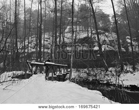Valley Peklo, Machuv Kraj, Czech Republic - February 04, 2017: New Wooden Footbridge In Peklo Hell