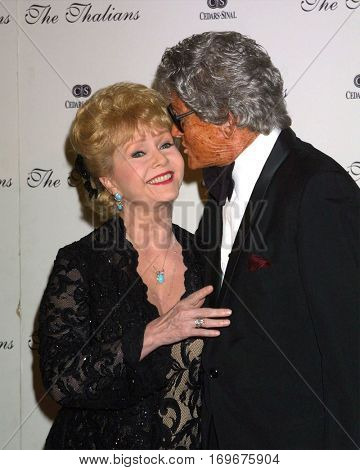 LOS ANGELES -OCT 11:  Debbie Reynolds, Gregg Juarez arrive at the Thalians Ball at the Century Plaza Hotel on October 11, 2003 in Century City, CA