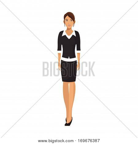 businesswoman wearing executive clothes over white background. colorful design. vector illustration