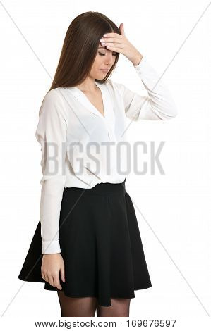Beautiful woman in white blouse with headache on white background