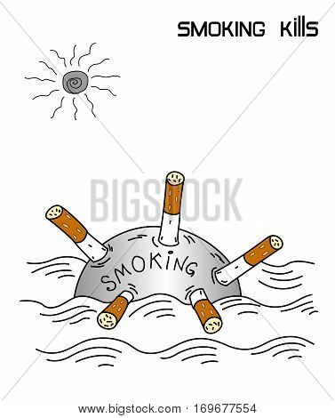 Smoking kills, cigarette Smoking counter-advertising poster isolated on a white background.