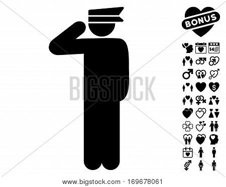 Police Officer pictograph with bonus lovely clip art. Vector illustration style is flat iconic black symbols on white background.