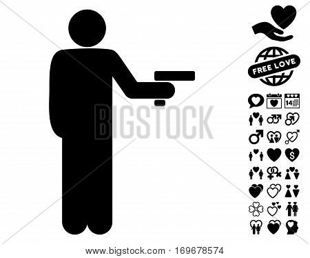 Robber With Gun pictograph with bonus dating pictures. Vector illustration style is flat iconic black symbols on white background.
