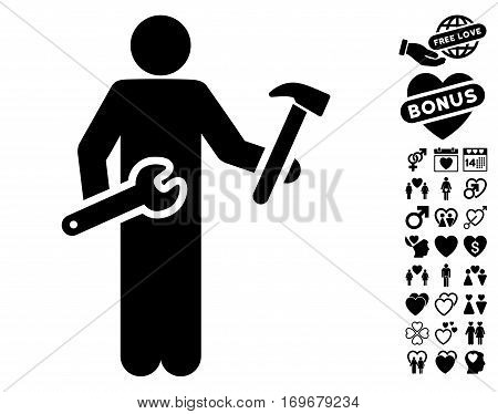 Serviceman pictograph with bonus dating pictograph collection. Vector illustration style is flat iconic black symbols on white background.