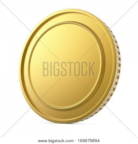 Blank gold coin isolated on white background. 3D rendering.