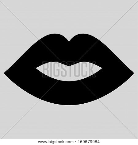 Lips flat icon. Vector black symbol. Pictogram is isolated on a light gray background. Trendy flat style illustration for web site design logo ads apps user interface.