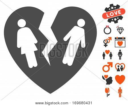 Broken Family Heart icon with bonus valentine symbols. Vector illustration style is flat iconic elements for web design app user interfaces.