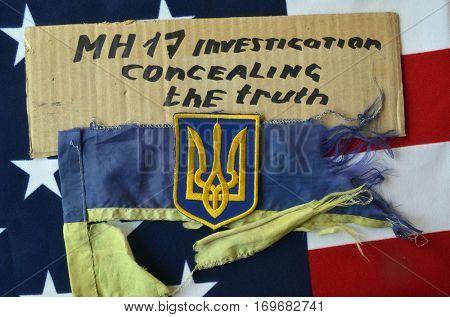 ILLUSTRATIVE EDITORIAL.Chevron of Ukrainian army. December 29,2016,Kiev, Ukraine