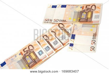 50 euro notes building an arrow upward on white background