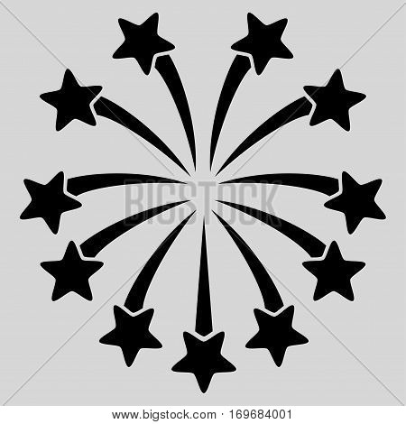 Spherical Fireworks flat icon. Vector black symbol. Pictograph is isolated on a light gray background. Trendy flat style illustration for web site design logo ads apps user interface.