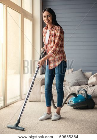 Beautiful Woman Cleaning House
