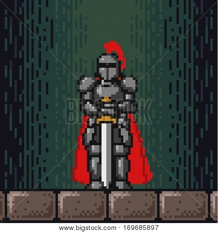 Pixelated vector Illustration of knight with sword