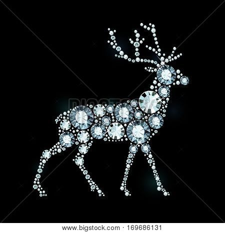Vector Deer Made of Shiny Diamonds on Black