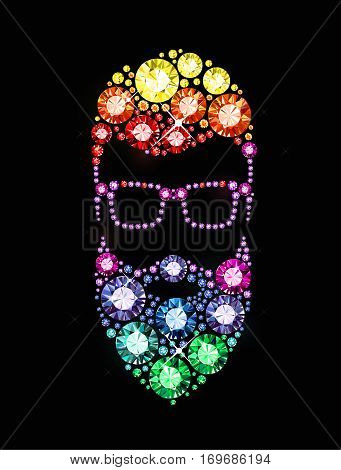 Bearded Man with Glasses made of Gems