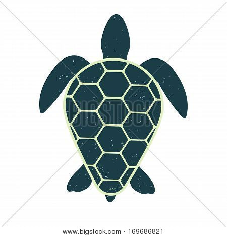 Icon of a great turtle. Vintage and modern style. Marine silhouette. Vector isolated image of for videos, mobile apps, web sites and print projects.
