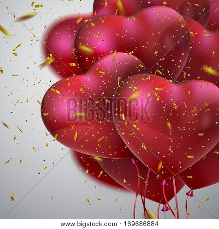 Balloon Hearts. Vector holiday illustration of flying bunch of red balloon hearts and golden confetti. Happy Valentines Day. Festive decoration. Wedding concept
