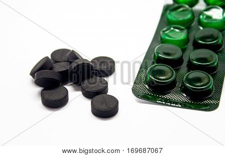 Medical Tablets. Absorbent Carbon, Are Isolated
